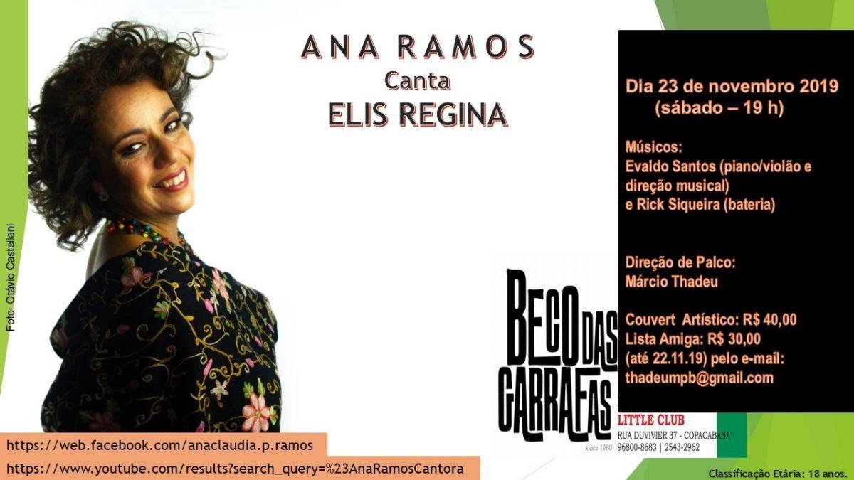 Ana Ramos canta Elis Regina no Beco das Garrafas, dia 23 às 19h