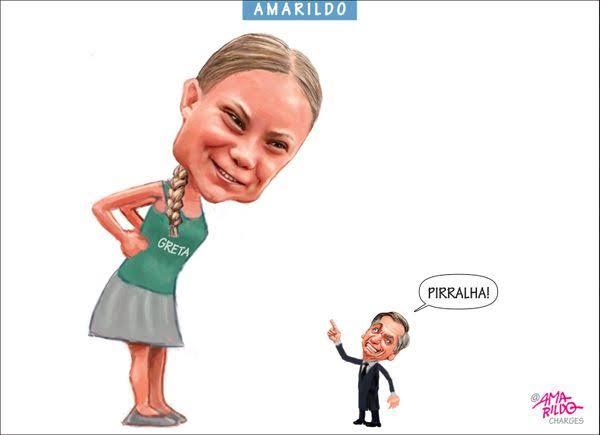 Brasil na luta em Davos opõe Greta a Bolsonaro