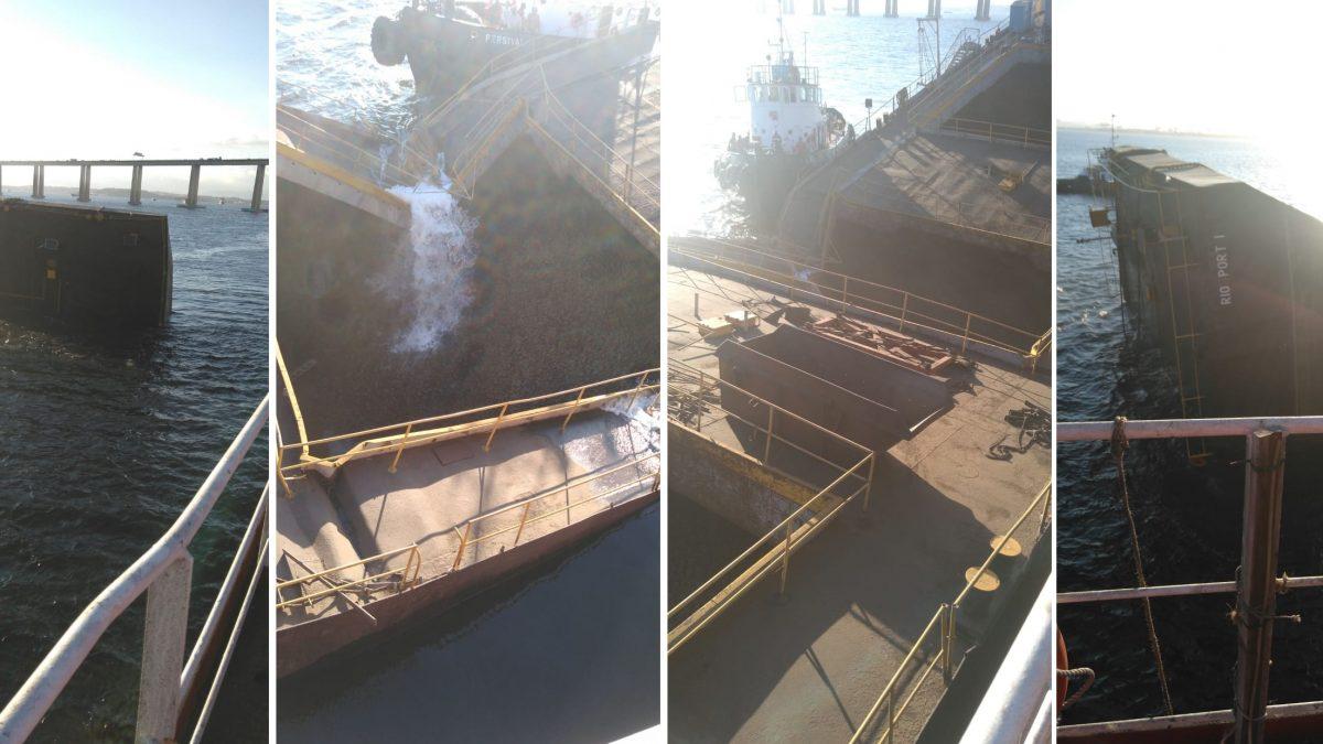 Balsa com óleo naufraga na Baía de Guanabara [VÍDEO]