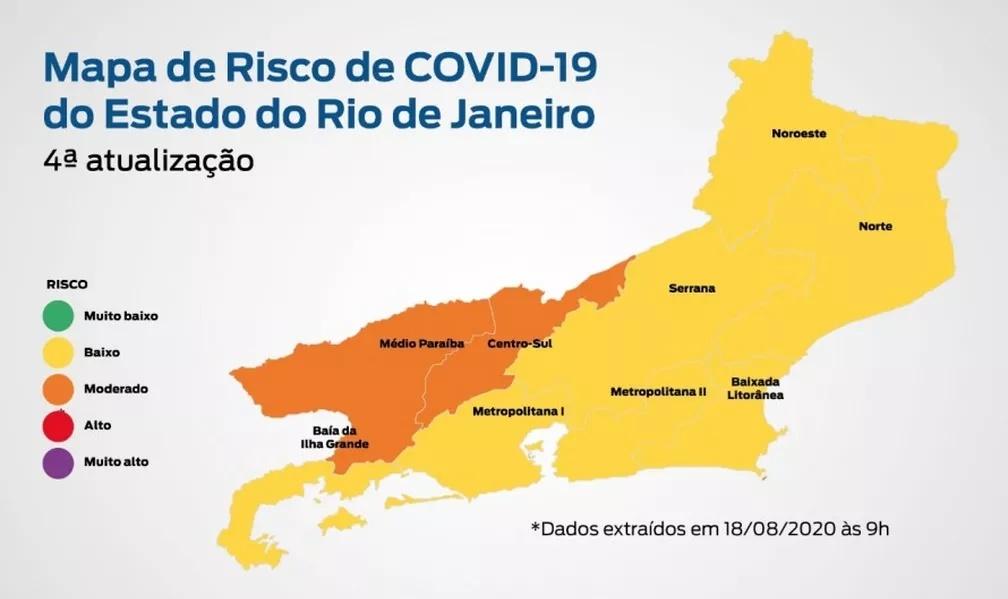 Mapa indica que 92% da população do RJ está em locais de baixo risco para Covid-19, diz governo