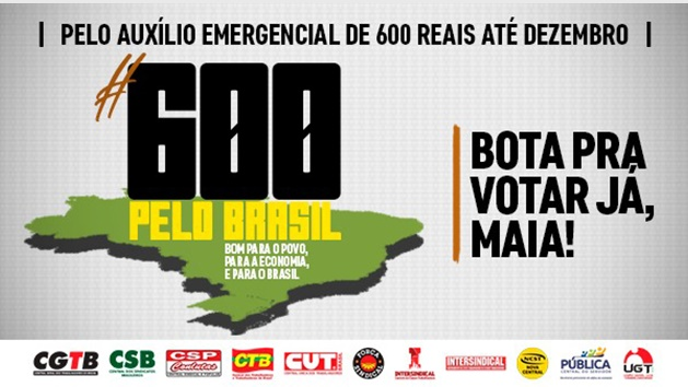 Centrais Sindicais vão ao Congresso Nacional pressionar pelos R$ 600