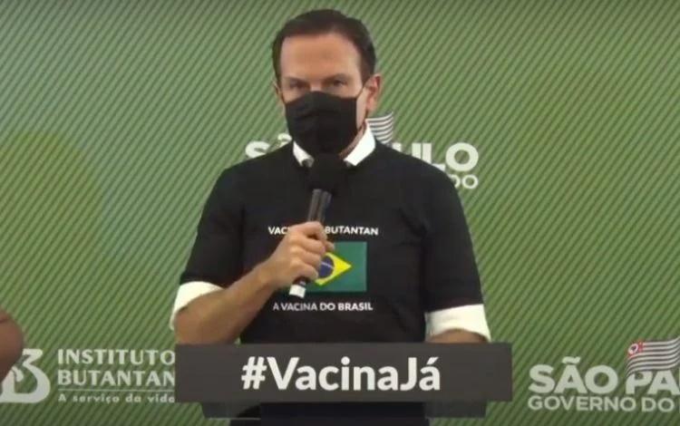 """Após aprovação, Doria diz que """"vacina é uma lição"""" para os autoritários que desprezam a vida"""