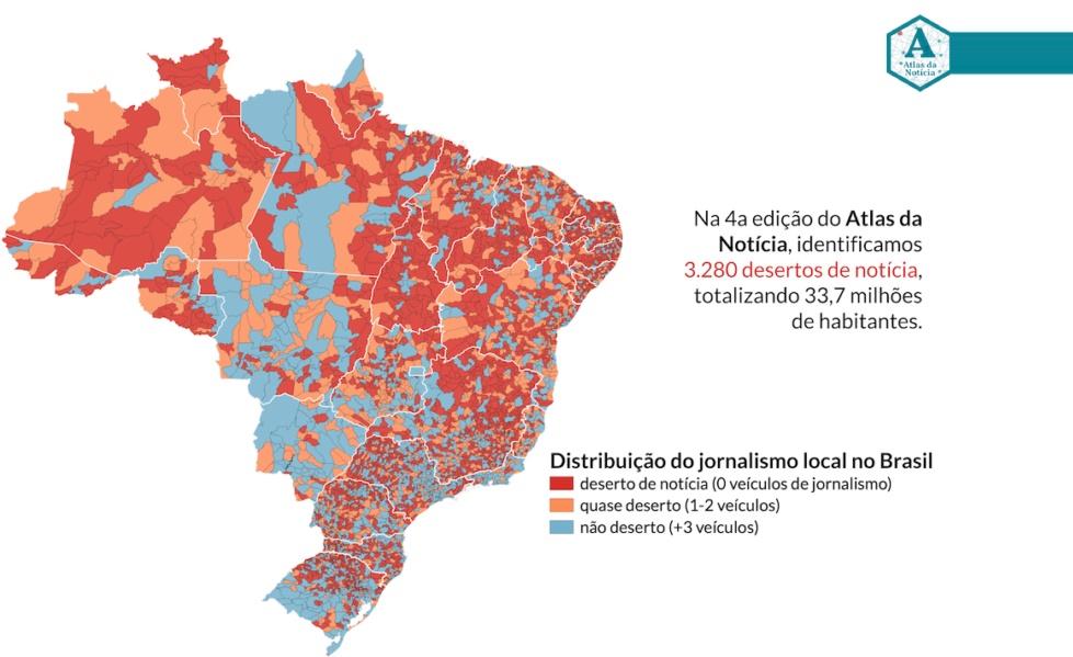 Atlas da Notícia: 33,7 milhões de brasileiros vivem em desertos de notícias