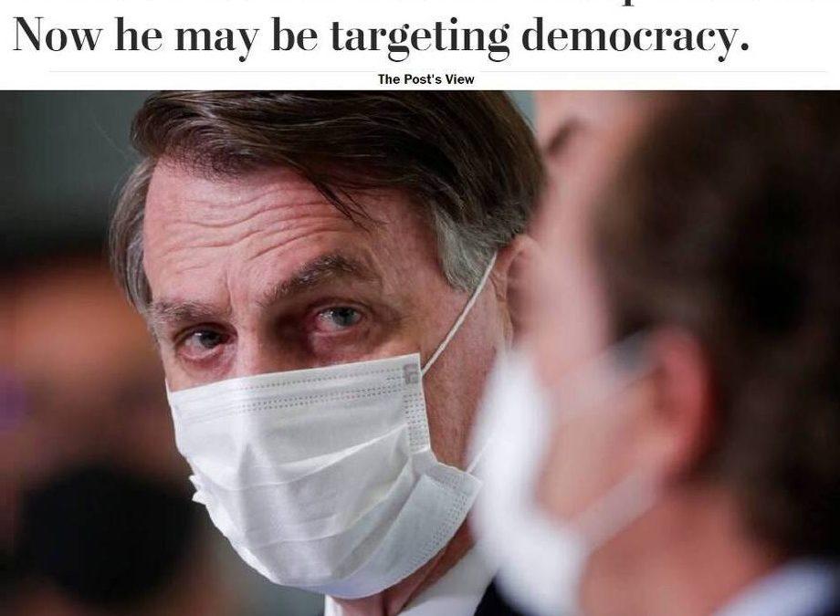 Em editorial, Washington Post diz que Bolsonaro pode estar ameaçando a democracia