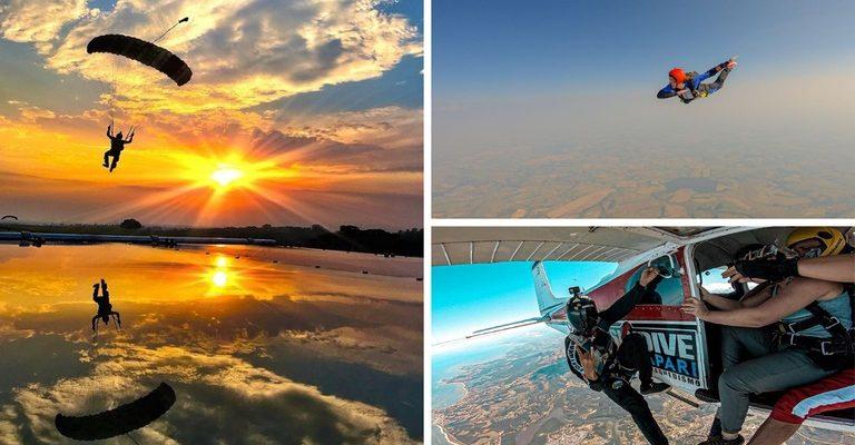 Prática do paraquedismo une o turismo de aventura e o de natureza em cenários incríveis. (Crédito: Edu Esteves/Skydive Guarapari)